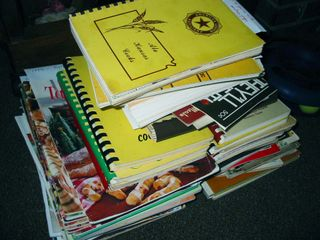 Stack of cookbooks to clean