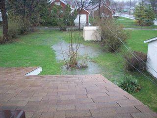 Rainy pouring lake